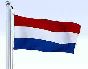 3D model Animated Nederlands Flag