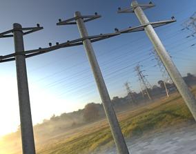Iron power pole without ladder - Objekt 067 3D model