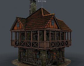 Medieval house 3d model stone low-poly PBR