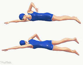 3D asset Female Swimming Classic Style
