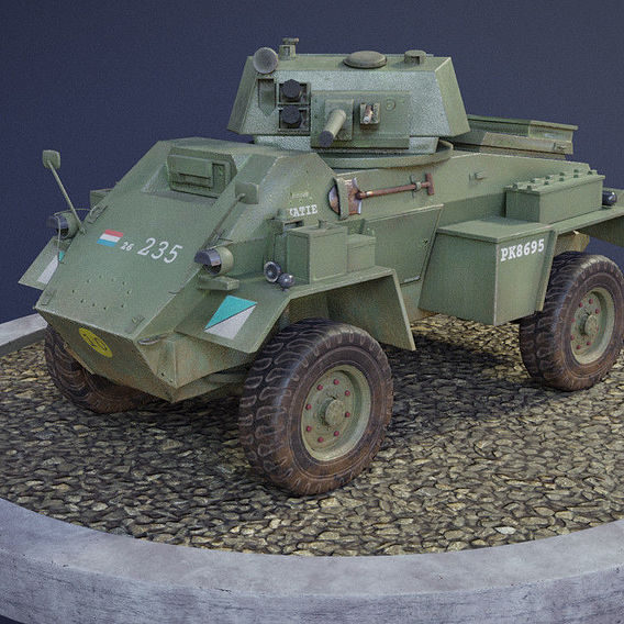 Humber Armoured Car game-ready model.