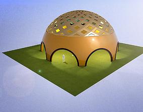 Large dome with atrium glass panels 3D model