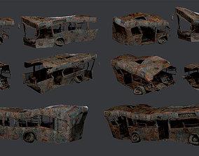 3D model 3 Apocalyptic Damaged Destroyed Vehicle Bus 2