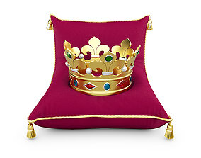 Gold crown with jewels 3D