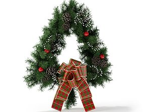 Christmas Wreath With Bow 3D