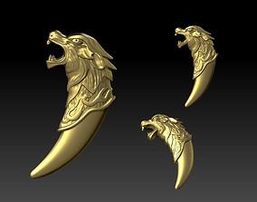 wolf head pendant 3D printable model