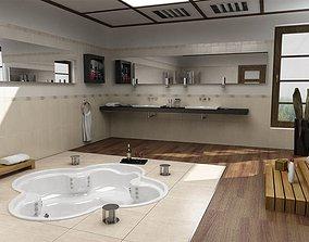 interior 3D Modern Spacious Bathroom With Jacuzzi