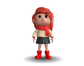 Stylized cartoon girl 3D model animated
