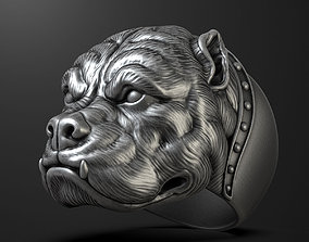 Pitbull dog head ring rings 3D printable model