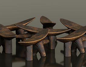 3D model game-ready Headrest Africa Wood Furniture Prop 1