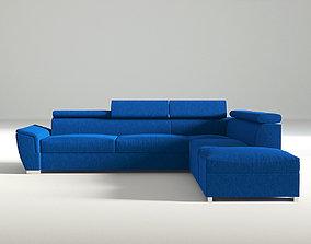 3D Fabric Navy Blue Corner Sofa
