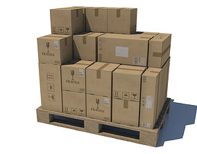 Pallet with Boxes Low poly 3D model