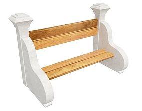 3D architectural Park bench