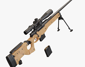3D asset rigged game-ready L115a3 sniper rifle