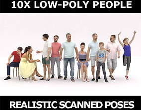 3D asset 10x LOW POLY CASUAL SUMMER PEOPLE VOL01 CROWD