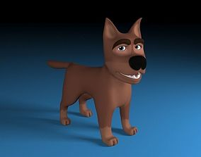 3D model low-poly Cartoon rigged brown dog