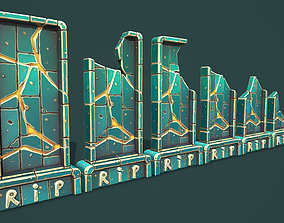 3D model Fantasy gravestone rectangular