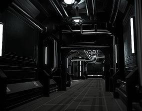 Low-Poly Sci-Fi Modular Corridor 3D asset