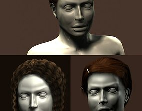 Hairstyles on mannequin 3D model