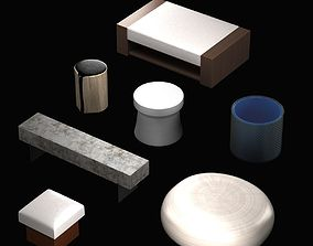 3D model Pouf and table collection