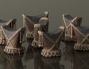 Headrest Africa Wood Furniture Prop 4 3D asset