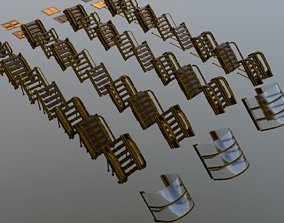 3D asset Sci-Fi pack of stairs 40 3