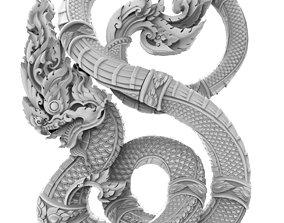 Thai tradition Naga 3D for print or CNC cncwood
