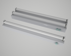 lamp fluorescent lights 3D model rigged