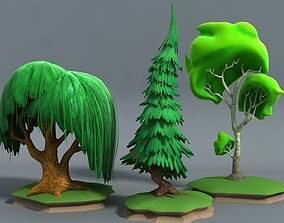 Cartoon Stylised Trees 3D model