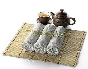 3D model Spa Tea Cup Pot Plant with Hot Towel