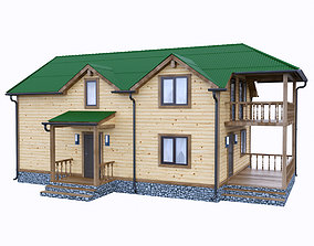 3D model simply wooden house 2