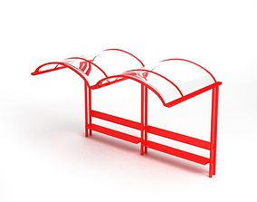 3D Red Bus Stop