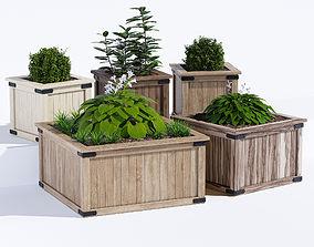 3D model Rustic barnwood planter two