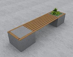 3D Modern Bench Street and Garden 10