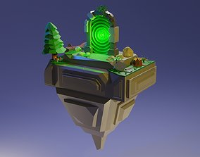 3D model Flying island with a portal