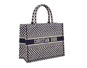 Dior Bag Small Book Tote Blue Dots Embroidery 3D model