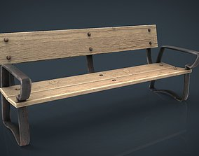 Wood Bench 3D asset