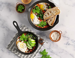 3D model Shakshuka with Spinach and Harissa