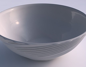Bowl wide with flowing extruded lines 3D printable model