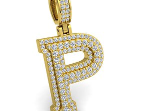 Alphabet Latter P Diamond Pendent 3d Model
