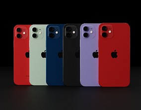 Apple iPhone 12 in all Official Colors and 3D model