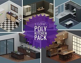 Low-Poly Kitchens Pack - 5 Kitchens 3D asset