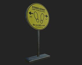 Social Distancing Signage 3D asset realtime