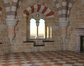 3D model Romanesque Castle Tower Room
