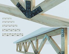 3D asset Set of wooden trusses with parallel belts