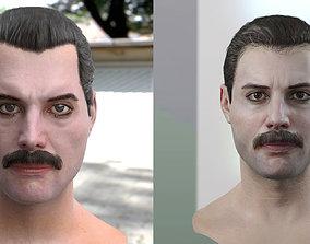The 3d model of Freddie Mercury singer head realtime