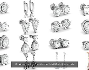 101 Women earrings 3dm stl render detail 3D