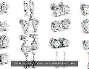 101 Women earrings 3dm stl render detail 3D print