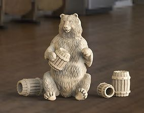 3D print model bear with barrels