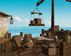 realtime Stylized Shipwreck and Pier 3D game ready assets